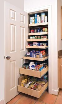 Slide out drawer pantry.