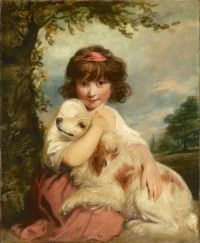 A Young Girl and Her Dog, Joshua Reynolds, c. 1780