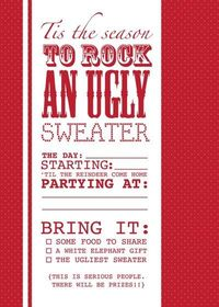 Free printable ugly sweater invite.