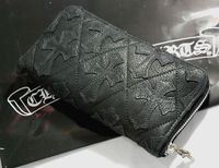 Black Chrome Hearts REC F Zip Cross Cemetery Leather Wallet