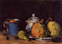 Cezanne - Sugar Bowl, Pears and Blue Cup. c. 1866. Oil on canvas. Musee Granet (France)
