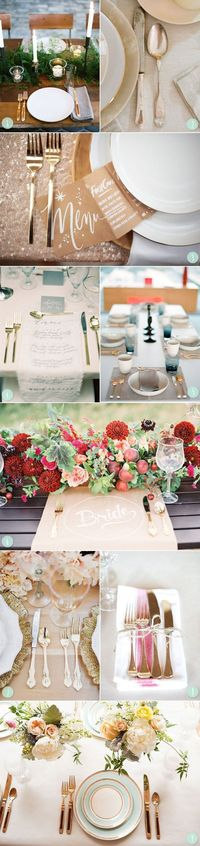 Pretty gold table settings from The Sweetest Occasion