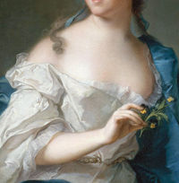 Sitter en déshabille, in revealing draperies that accentuate her pearly skin; holds a flower ornament for the hair in such a way as to draw attention to her beautiful and delicate hands that are devoid of the signs of manual labor. The belt around her wa...