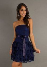 Elegant Navy Lace Layered Fitted Formal Prom Dress