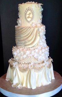 White, Ivory, and Champagne Pearls and Swags Wedding cake