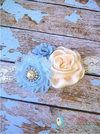 Cream Blue Flower Infant Headbands,Baby Girls Hair Bows,Womens Clip,Newborn Photo Prop