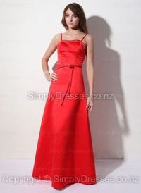 A-line Spaghetti Straps Satin Floor-length Red Beading Prom Dress