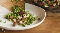 Charred peas with mortadella and burnt ricotta from Del Campo, Washington, DC | TastingTable Recipes