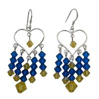 Whether you want something glittering for the cocktail hour or elegant for every day these beautiful Sterling silver 92.5 framed Blue Yellow chandelier earrings suit every taste & age making it a terrific gift to give yourself or someone special.   ...