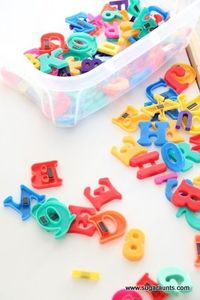 Multi-Age Learning with this simple letter bin. Scoop up a few of these letter sets if you see them on sale! You can use a bin of magnetic letters for so many educational play activities.