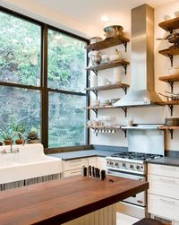 Vintage American Standard sink and salvaged wood shelves