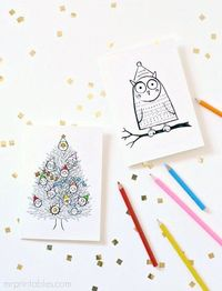 Printable Colour Yourself Christmas Cards (Mr Printables)
