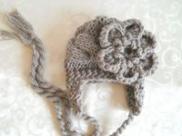Grey flower beanie. ADORABLE!