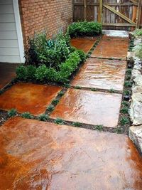 "Stepping stones �€"" stained concrete pieces"