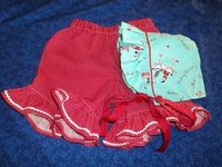 Baby Bonnet and Shorts Set Aqua and Red with Rick Rack. $36.00, via Etsy.