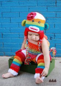 Rainbow Sock Monkey Hat Legwarmer Set - via The Pink Elephant