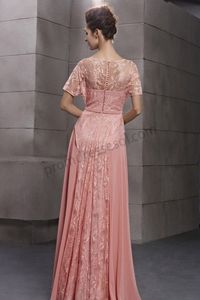 pink lace round neck short sleeve princess bridesmaid ball dress