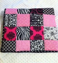 Pink Black and White Girls baby/toddler quilt $74.95