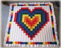Technicolor Heart Crochet Quilt.