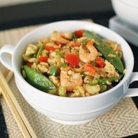 Healthier Shrimp and Vegetable Fried Rice - only 126 calories per serving.
