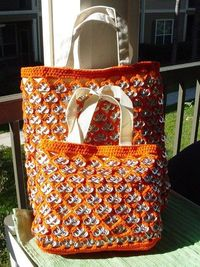 Orange Pull-Tab Crochet Totes - Large and Small. $100.00, via Etsy.