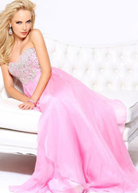 Embellished Bodice Halter Neck Pink Full-length Skirt