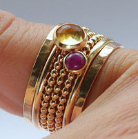 Ruby & Citrine Stackable Birthstones Mothers rings - Personalized Jewelry