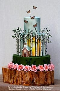Birch forest church wedding cake