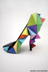 Origami Shoe by French artist Mathieu Missiaen for his collaboration with Make a Paper World