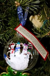 HAND PRINT ORNAMENT TAG -These are not five ordinary snowman, as you can see I made them with my hand for you to hang up on your tree. Now every year at Christmas you can look back and recall not so very long ago when my hand was just this small. Love, &#...