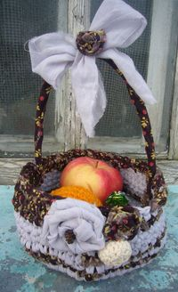 Easter fabric crocheted basket by recycledcrafting on Etsy, $25.00