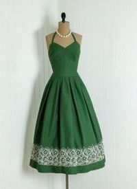 Forest Green Vintage Dress