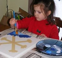 Snowflake art - Just remove the tape when the paint dries Possible Class Christmas gift idea!