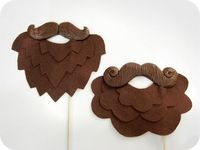 2 Brown Plastic Mustaches and felt beards on by MisterMustache, $28.00