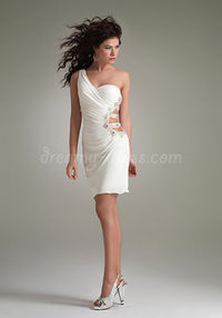 Silhouette: Sheath/Column  Fabric: Chiffon  Neckline: One Shoulder  Sleeve Length: Sleeveless  Waist: Natural  Back Details: Open  Hemline/Train: Short-length  Embellishments: Ruching, Beading  Style: Sexy, Chic Occasion: Prom, Cocktail Party, Ho...
