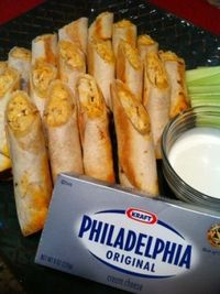 Baked Buffalo Chicken Taquitos Combining spicy Buffalo flavors with the creaminess of Philadelphia cream cheese, all wrapped up in a tortilla