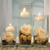 we could do a set up like this for the place cards table [floating candles in a variety of solid colors. contemporary glass vases also available.]