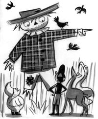 vintage illustration scarecrow