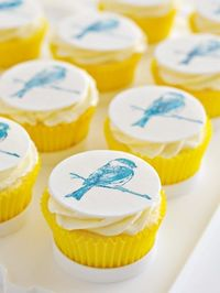 Printing on Vanilla Bean Birdie Cupcakes using stamps, includes video- she is so clever !