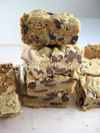 Chocolate Chip Cookie Bars stuffed with Peanut Butter