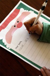 "Free Santa letter printable, plus a list of addresses that participate in ""operation santa"" to send them to"
