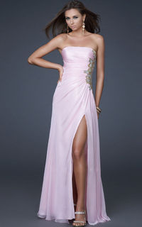 Light Pink Gold Embroidery Gown La Femme 15985 With Side Slit