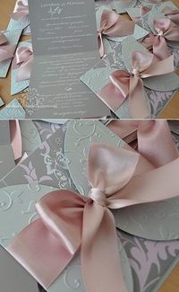 Dusty Rose and Silver Butterfly Wedding Invitations - Handmade by Meda