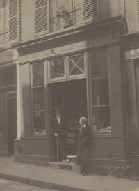 James Joyce and Sylvia Beach Outside Shakespeare & Co. Paris, ca. 1920