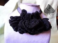 Necklace adjustable black cotton crochet by Cosmosicula on Etsy, $59.00