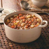 Hamburger Stew 2 lbs ground beef/turkey; 2 med onion, chopped; 4 14 1/2 oz can stewed tomatoes; 8 carrots thinly sliced; 2 med potato diced; 2 c water; 1/2 c rice; salt & Pepper. Brown meat & onion, add other ingredients and simmer