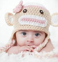 Sock Monkey Girl Crochet Hat