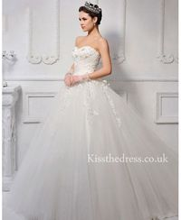 Vintage Princess Sweetheart Tulle Lace Ball Gown Wedding Dress