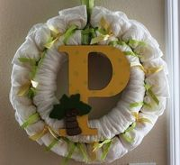 Q-t as a button diaper wreath