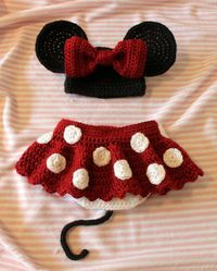 Crochet Newborn Minnie Mouse Outfit, Photo Prop